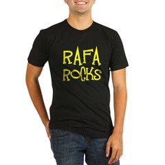 Rafa Rocks Tennis Design Organic Men's Fitted T-Shirt (dark)