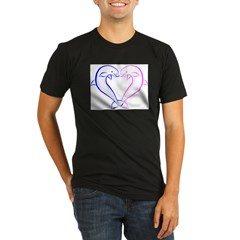 Dolphin Heart Blue and Pink Organic Men's Fitted T-Shirt (dark)