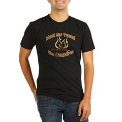 MEET ME 'ROUND THE CAMPFIRE! Organic Men's Fitted T-Shirt (dark)