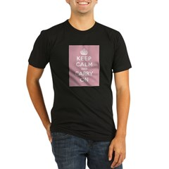Keep Calm And Carry On Organic Men's Fitted T-Shirt (dark)