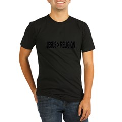Jesus Greater Than Religion Organic Men's Fitted T-Shirt (dark)