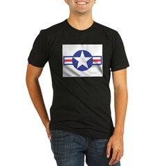 US USAF Aircraft Star Ash Grey Organic Men's Fitted T-Shirt (dark)