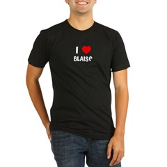 I LOVE BLAISE Black Organic Men's Fitted T-Shirt (dark)