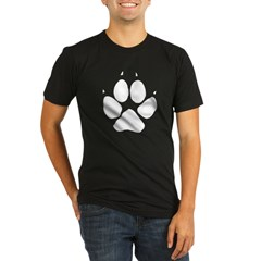 Dog Track Pawprint Black Organic Men's Fitted T-Shirt (dark)