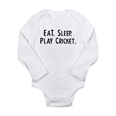 Eat, Sleep, Play Cricket Infant Creeper Long Sleeve Infant Bodysuit