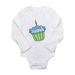 Cute Cupcake (blue) Infant Creeper Long Sleeve Infant Bodysuit