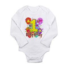 BIRTHDAY 1 Long Sleeve Infant Bodysuit