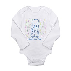 Happy New Year Poodle Long Sleeve Infant Bodysuit