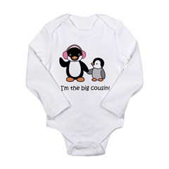 Big Cousin Kids T-Shirt - Penguin Long Sleeve Infant Bodysuit