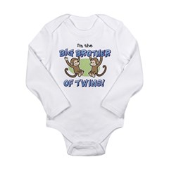 Big Brother of Twins (Monkey) Long Sleeve Infant Bodysuit