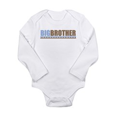 big brother brown/blue Long Sleeve Infant Bodysuit