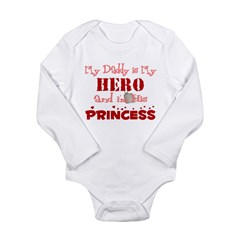 My Daddy is My Hero (red) Long Sleeve Infant Bodysuit