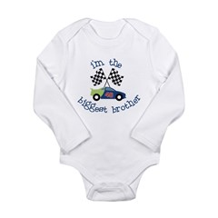 biggest brother race Long Sleeve Infant Bodysuit