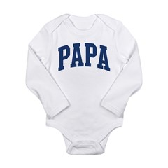 PAPA design (blue) Long Sleeve Infant Bodysuit