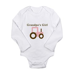 Grandpa's Girl - Pink Tractor Long Sleeve Infant Bodysuit