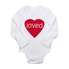 Red Loved Long Sleeve Infant Bodysuit