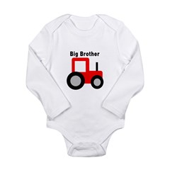 Big Brother Red Tractor Long Sleeve Infant Bodysuit