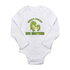 world's coolest big brother dinosaur Long Sleeve Infant Bodysuit