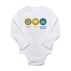 Peace Love Investment Banking Long Sleeve Infant Bodysuit