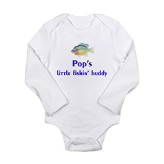 pop's fishin buddy Long Sleeve Infant Bodysuit