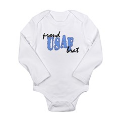 cp proud usaf brat blue Long Sleeve Infant Bodysuit