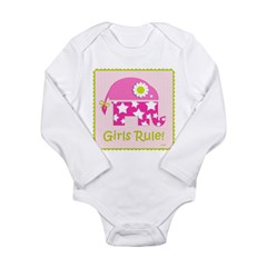 Girls Rule! Elephant Long Sleeve Infant Bodysuit