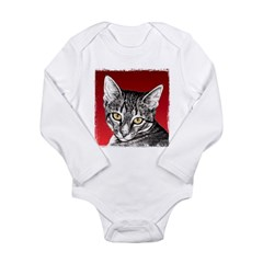 Pencil Tabby Red Background Long Sleeve Infant Bodysuit
