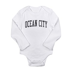 Ocean City New Jersey NJ Black Long Sleeve Infant Bodysuit