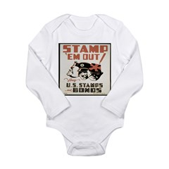 Vintage WW I WAR Bond Print Long Sleeve Infant Bodysuit