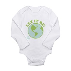 Let It Be Green Recycle Long Sleeve Infant Bodysuit
