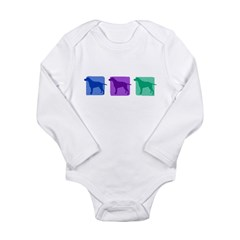 Color Row Curly Coated Long Sleeve Infant Bodysuit