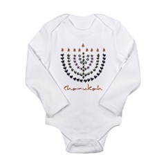 Chanukah Menorah Long Sleeve Infant Bodysuit