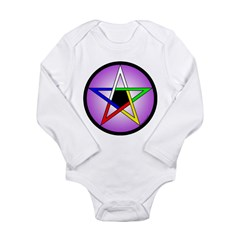 Elemental Pentacle Baby Creeper - 5 Elements Long Sleeve Infant Bodysuit