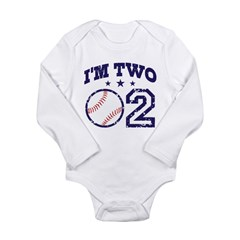 Two Year Old Baseball Long Sleeve Infant Bodysuit
