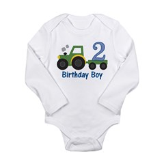 2nd Birthday Tractor Long Sleeve Infant Bodysuit