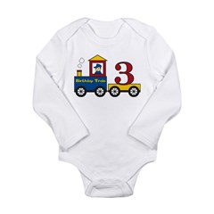 3 Year Old Birthday Train Long Sleeve Infant Bodysuit