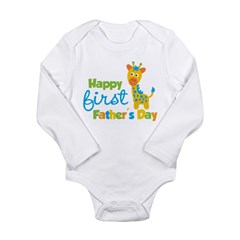 Giraffe 1st Fathers Day Long Sleeve Infant Bodysuit