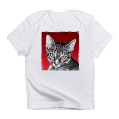 Pencil Tabby Red Background Infant T-Shirt