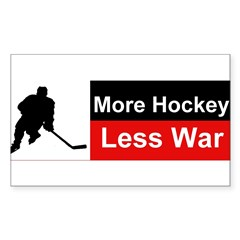 More Hockey Less War Sticker (Rectangle)