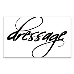 dressage (black text) Oval Sticker (Rectangle)