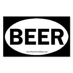 BEER Oval Sticker (Rectangle)