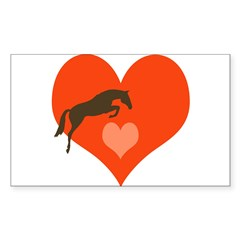 horse hearts Oval Sticker (Rectangle)