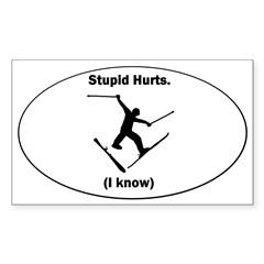 Skiing Stupid Hurts Oval Sticker (Rectangle)
