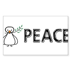White Dove Peace Sticker (Rectangle)