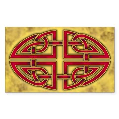 Celtic Knotwork (Red) Oval Sticker (Rectangle)