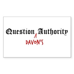 Question Davon Authority Sticker (Rectangle)