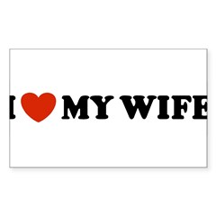 I Love My Wife Oval Sticker (Rectangle)