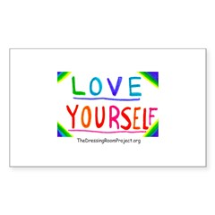 """Love Yourself"" Oval Sticker (Rectangle)"