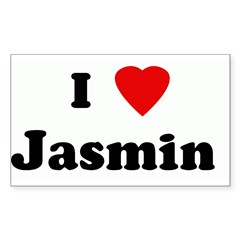 I Love Jasmin Sticker (Rectangle)
