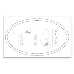 Triathlon Oval Sticker (Rectangle)